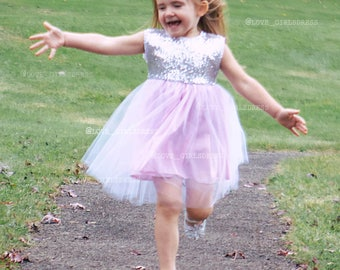 Ready to Ship-6-9m, 18m only Silver,Sequins and Pink Lavender Lace Tulle Dress, baby summer dress, baby sequins dress,