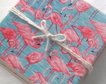 Ceramic Tile Coasters - Flamingo Retro Style 005