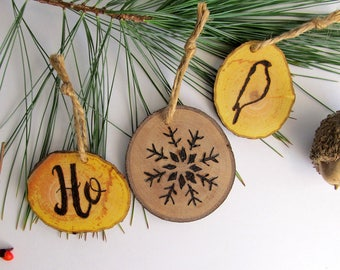 Set of 3 Reclaimed Wood Rustic Holiday Ornaments/ Stocking Stuffers / Christmas Ornament Set / Wooden Holiday Decor / Natural Wood Ornament