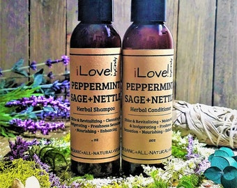 PEPPERMINT+SAGE+NETTLE-Herbal Shampoo Conditioner-Promote Hair Growth-Thinning Hair-AntiDandruff-Oily Hair-Organic-Vegan- 8oz -iLove!byCindy