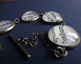 Macbeth Bracelet, Shakespeare Jewellery, Teacher Gift, Graduation Gift, Book Lover Gift, Book Bracelet
