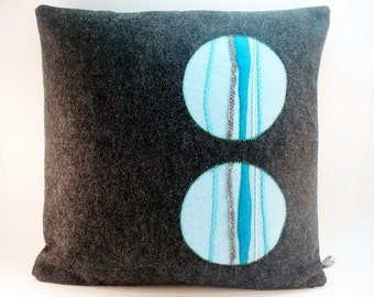 Dark Gray Pillow, Modern Home Decor,  Modern Pillow, Wool Felt Pillow, Abstract Pillow, Blue Pillow