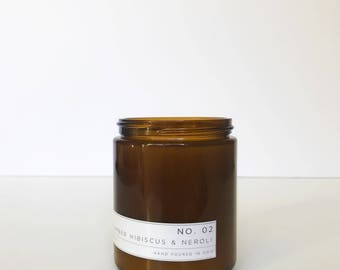 Soy Candle / No. 02 / Amber. Hibiscus. Neroli.   /  8 oz Soy Wax Candle / Hand Poured / Scented Soy Wax / Amber Jar /