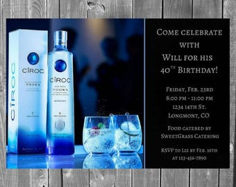 Adult Vodka Birthday Party Invitation / Adult Party Invitation / Birthday Invitation / Vodka / Liquor / Adult Invite / Mens Invitation