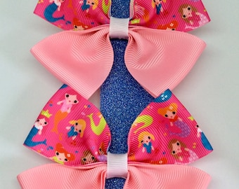 Hair bow clip, pink mermaid, bunches pack of 2