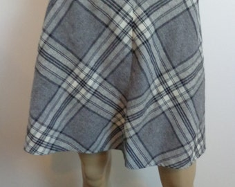 Vintage School Girl School, Mid Century Skirt, Plaid Mini Skirt,Vintage Skirt,Grey White Plaid,Skirt Vintage Skirt Vintage Skirt School Girl