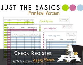 "Happy Planner [PRINTED] Check Register Planner Inserts - PDF - 7 x 9.25 ""Just the Basics"" 