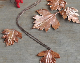 Real hawthorn leaf necklace, electroformed botanical jewelry, copper dipped, woodland jewelry, electroform gift idea