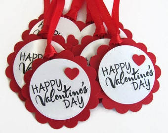 Valentines Day Tags, Happy Valentine's Day, Gift Tags, Favor Tags, Valentine  Tag, Valentine Gift Tags, Red Gift Tags, Scalloped Gift Tag