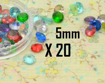 20 x multicolor 5mm round tapered cone faceted Crystal rhinestone cabochon