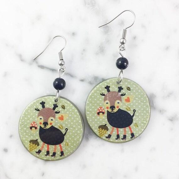 Resin earrings, goat, brown, green, cute animal, handmade, sold, earring, hypoallergenic hook