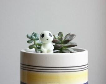 Kodama Tree Spirit - miniature terrarium figurine, glow in the dark garden accessory, potted plant decor, princess mononoke, studio ghibli