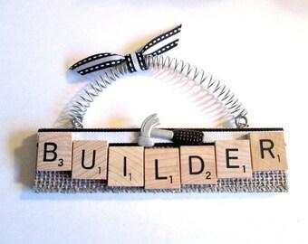 Builder Construction Scrabble Tile Ornament