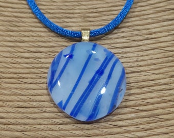 Striped Fused Glass Pendant, Blue and White Necklace, Striped Jewelry, Blue White Jewelry - Sweet Breeze - 937 -1
