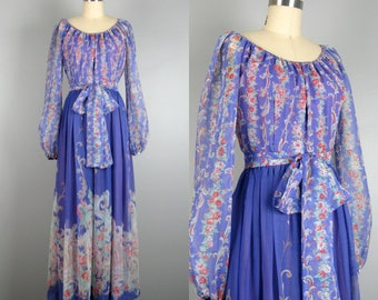 Vintage 1970s Chiffon Dress 70s Purple Printed Chiffon Maxi Dress Size M