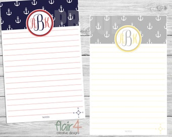 Personalized Printable Stationery - Anchors - Initials: Digital File (5.5x8.5)