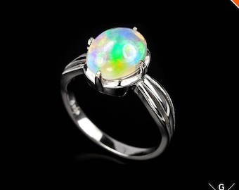 Opal stone Ring 6. Genuine Natural Rainbow Ethiopian Opal Cabochon Real Sterling Silver Ring rainbow Welo Opal Ring 6 see VIDEO