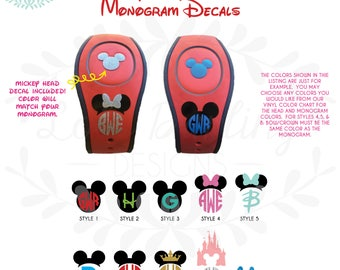 Magic Band Monogram Decal Solid or Glitter
