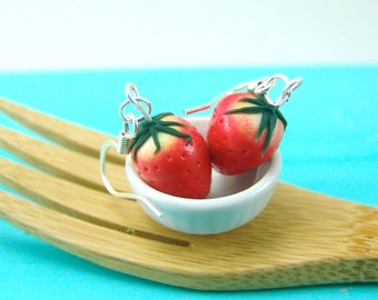 Strawberry Earrings // MADE to ORDER // Strawberry Food Jewelry // Berry Fruit Earrings