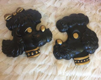 French Poodles Vintage Black Wall Decor