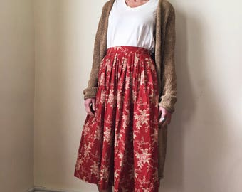 Prairie Home Companion 1970s Ralph Lauren Red Cotton Floral Print Pleated Midi Skirt XS S 26