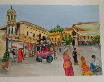 Street in Pushkar, India - original watercolor