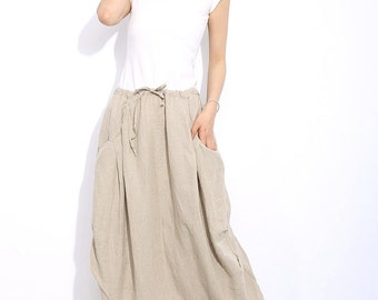 Casual Linen Skirt - Cream Beige Mid-Length Woman's Skirt with Drawstring Waist Plus Size Clothing C321