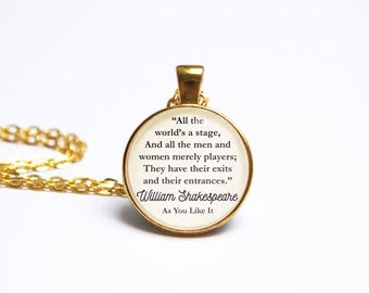 William Shakespeare Quote Pendant. As You Like It Quote Necklace. All The Worlds A Stage. Literary Gift. Literary Jewellery. Book Lover