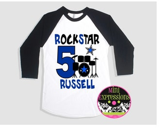 RockStar Birthday Raglan shirt Personalized Just For You Any Age Any Name