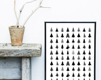 Scandinavian Art, Tree Print, Abstract Art Print, Tree Poster, Giclee print, Wall Art, Nordic Design, Abstract Art