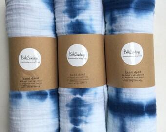 Indigo Blue Shibori Muslin Baby Wrap, Swaddle, Blanket, Beach Wrap