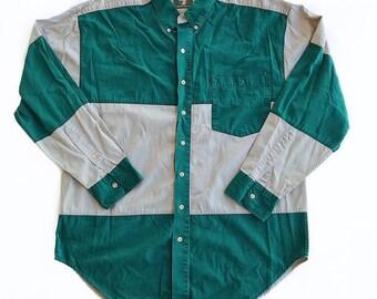 DUCK HEAD Vintage 90s Green + Beige Colorblock Button Down Shirt Men's Large