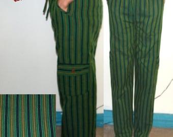 SIZE M Real Cotton Trousers Ethnic Boho Hippi Incredible Comfortable rasta green yellow red navy pink blue orange funky travel YOGA pants