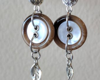 Brown, White and Silver Dangle Earrings Made from Buttons