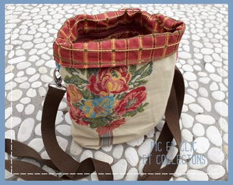 reversible satchel with shoulder strap and zipper bag, tissue Nobilis