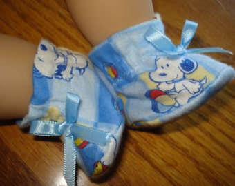 "for Baby 15"" Doll Clothes - blue Baby Snoopy flannel slippers booties satin in bow"