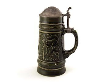 Vintage Beer Stein, Pewter Lid, Musical theme, Lidded 1/2 Ltr Beer Stein, Beer Mug, Man Cave, Glazed Stein, Collectible,  0.5 Ltr, post war