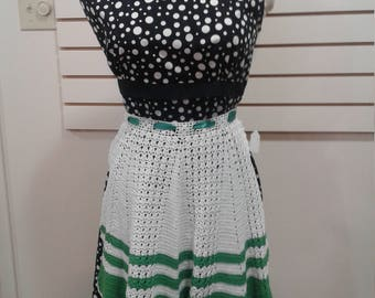 Crocheted vintage green and white apron
