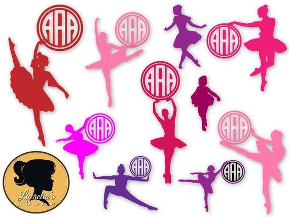 Ballerina Monogram Frames SVG, Dancer monogram frame SVG, Ballet ...