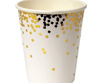 Gold Cups, Party Supplies, Gold Confetti, Bridal Shower, Bachelorette Party, Gold Party Supplies, White Party Supplies, Gold Confetti Cups