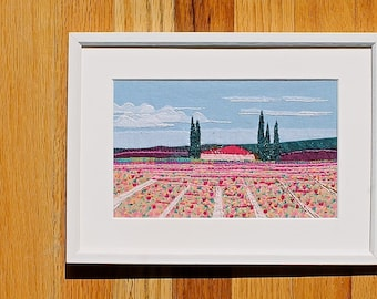 Pink Flower Field - Handmade Framed Embroidery - Landscape Art