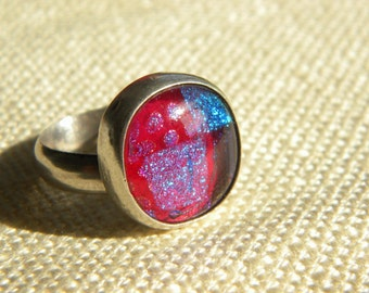 Stunning Silver 925 RING ~ Sparkling foil GLASS ~ wow factor ~ inA980