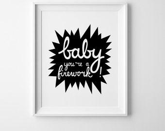 Baby you're a firework, Scandinavian print, nursery print, kids wall art, nursery art, kids decor, scandinavian art, firework print kids art