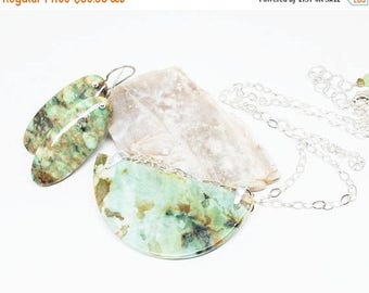 25% OFF Chrysocolla Gemstone . Sterling Silver Pendant Necklace and Dangle Earrings Set . Mix of Greens and Browns . Free Shipping . Gift .