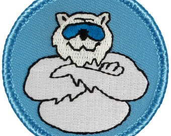 Cool Polar Bear Patch - 2 Inch Diameter Embroidered Patch