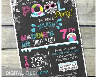 "Pink Winter Pool Birthday Party Chalkboard Invitation Snow Indoor Pool Party - DIGITAL Printable Invite - 5"" x 7"""