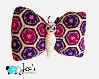 Crochet Pattern - Tess the African Flower Butterfly Pillow
