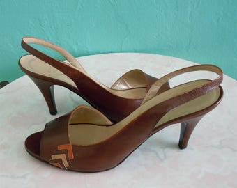 70's garolini brown sling back heel / size 7.5 / 38