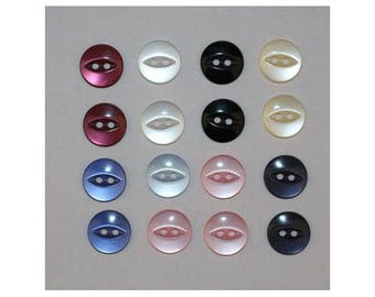 160 x buttons basic 14 mm 2 holes set S - 000831