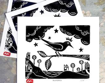 Awakening - Aunia Kahn Original Handmade Linocut Print, Block Print, Relief Print, Lino Print, Bird Print, Bird